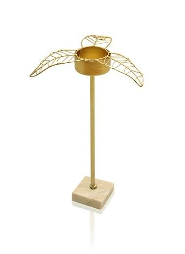 The Mia Gold Yaprak Tealight Mumluk Büyük 16x14x22 Cm Altın